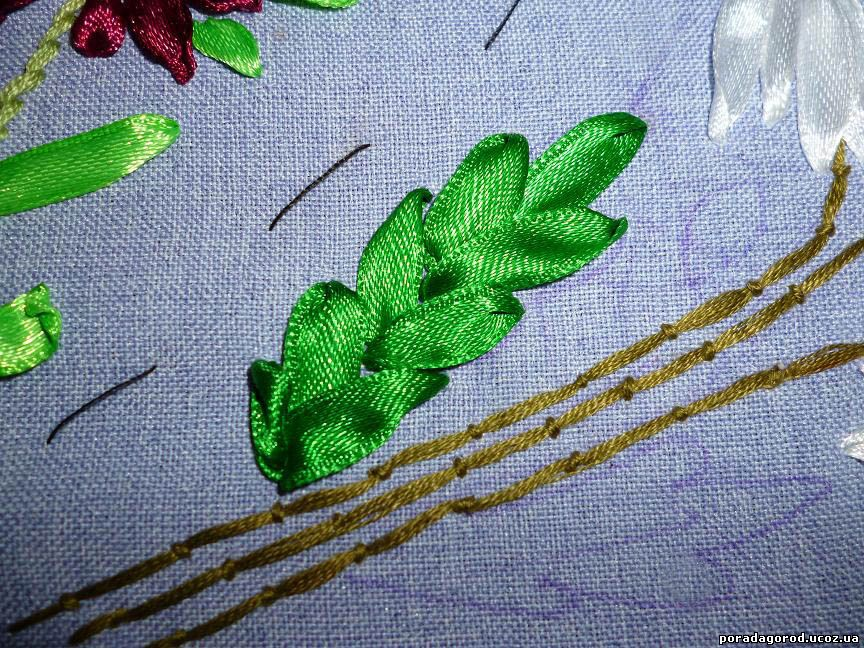 Вышивка лентами лист 79